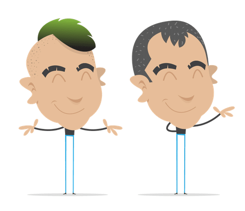 Cartoons of me; one with green mohawk hair, one with silvery hair