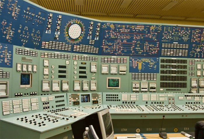 an incredibly elaborate 1980s-style control panel for a nucelar power station